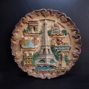 Assiette ronde art déco Paris Tour Effel vintage céramique marron France N7351