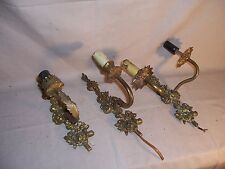 Lot of Vintage Cast Brass Wall Sconce Wall Mount Light Lamp Parts or Repair