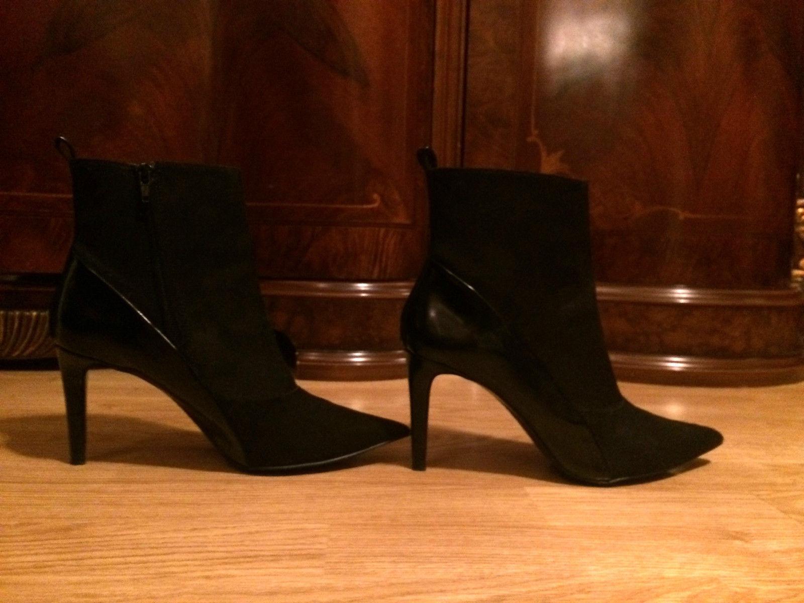 ZARA schwarz suede pointy toe suede Stiefel ankle slim medium heel Stiefel suede booties 39 9 0be36c