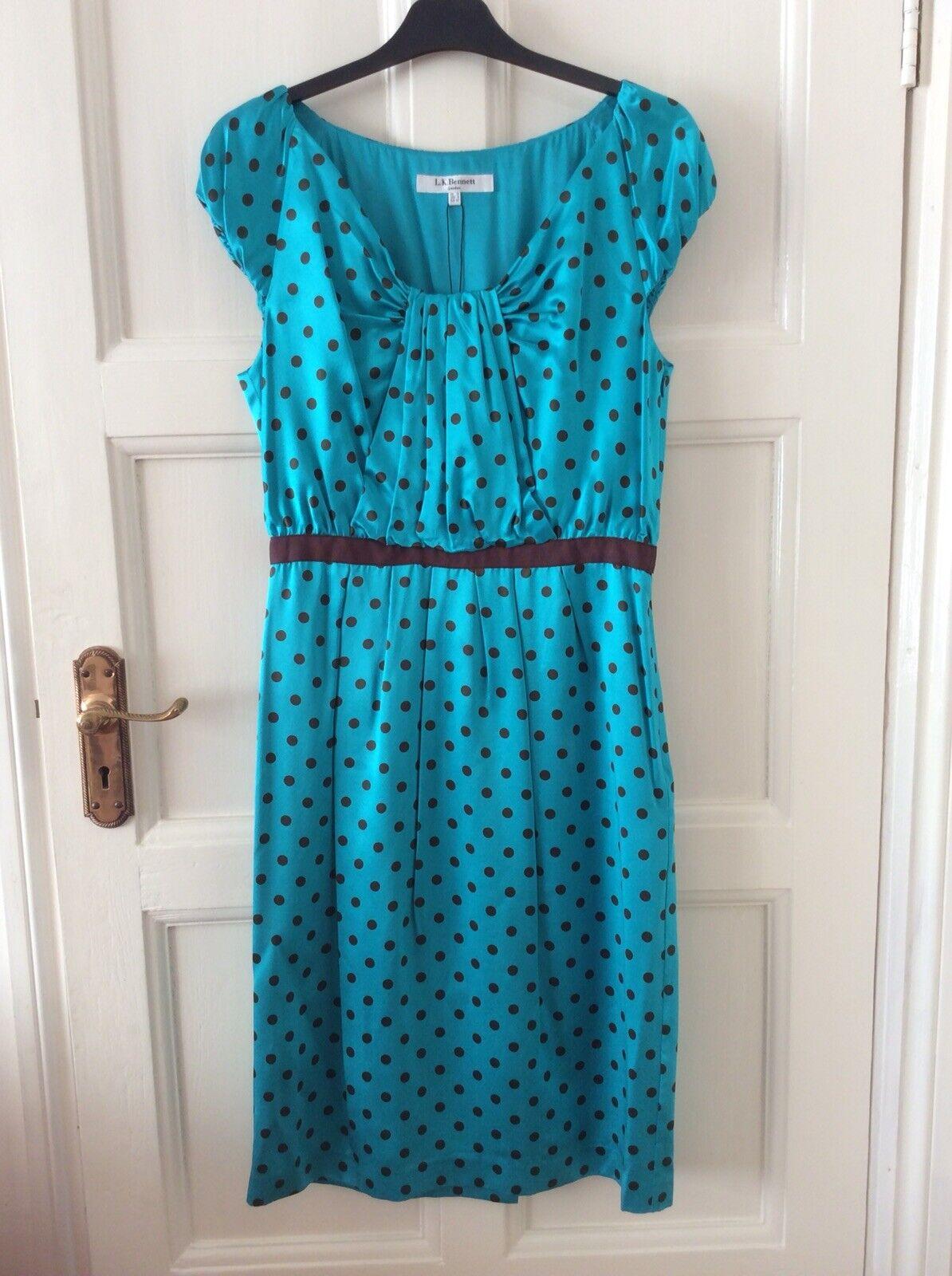 BNWT L.K. BENNETT Sahara Polka Dot Turquoise Robe en soie taille 12