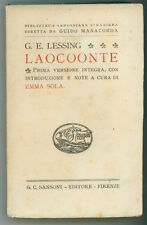 LESSING GOTTHOLD LAOCOONTE SANSONI ANNI '30 BIBLIOTECA SANSONIANA STRANIERA 49
