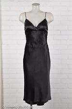 Arden B woman's dress size M black LBD cross V neck silk satin tie waist sexy