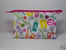 CLINIQUE WHITE MULTI COLOR Cosmetics Make-up bag CLUTCH WALLET NEW