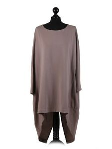 Tunic-Top-Plus-Sz-Fits-16-20-High-Low-Split-Ruched-Back-Lagenlook-Gray-Rust-Teal