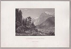 Schweiz-Berge-Obwalden-Engelberg-und-Titlis-Stich-Stahlstich-1862