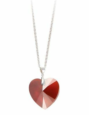DSE 5074744 Heart Pendant Necklace silver-plated Swarovski Crystal red magma MIB