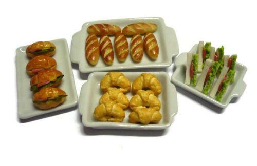 23 pcs/set  Bakery Bread on Ceramic Tray Dollhouse Miniatures Food
