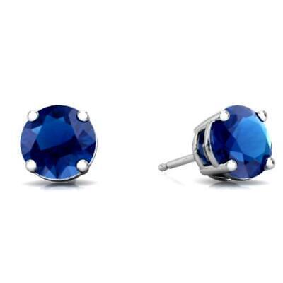 14Kt White Gold 2 Ct Blue Topaz 6mm Bezel Round Stud Earrings