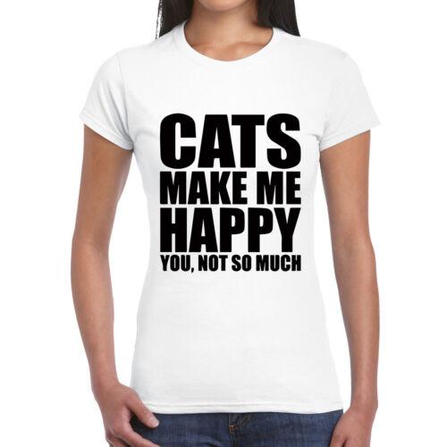 Happy Pills Cat T-shirt femme-chats animaux cadeau sa mèreartiste invité JG