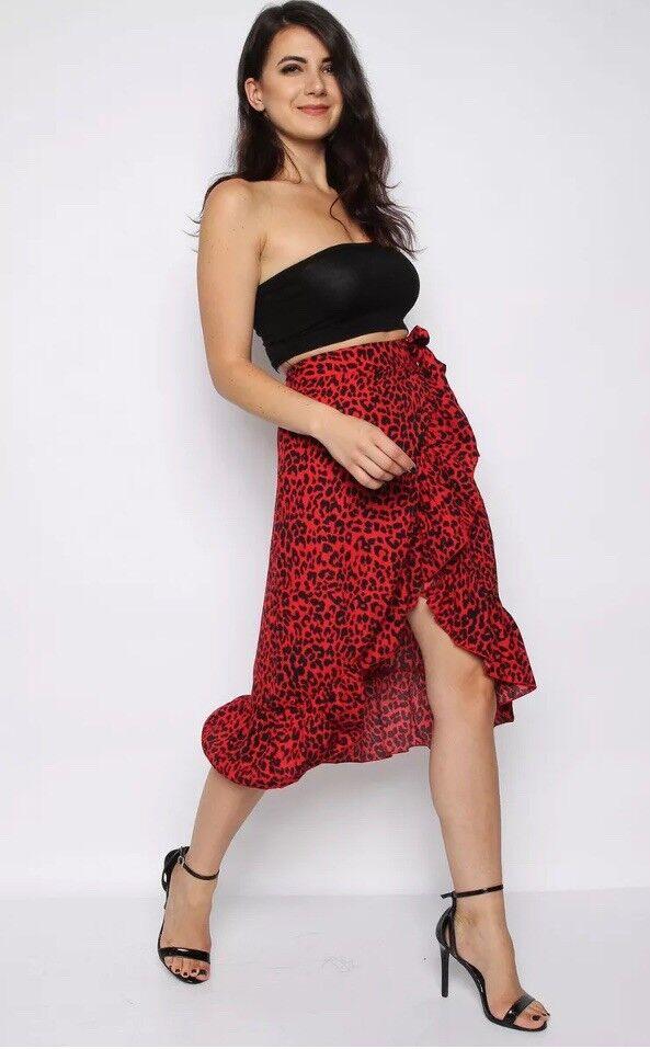 Missi London Red Leopard Print Asymmetrical Ruffle Midi Hi Low Skirt US 4