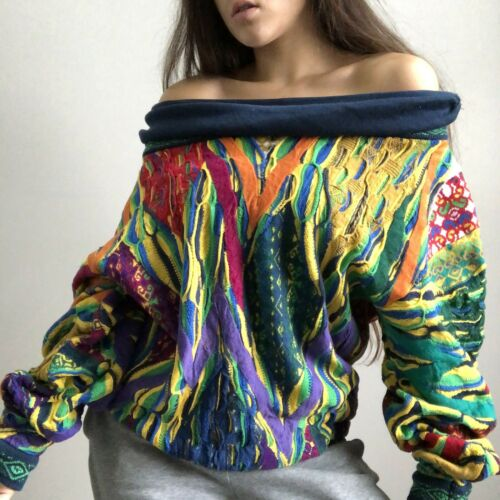 vintage coogi 3D cowo neck sweater off the shoulde