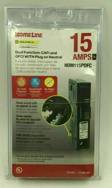 SQUARE D HOMELINE HOM115PDFC HOM115PDF 15A DUAL FUNCTION PLUG IN BREAKER NEW