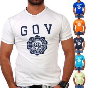Gov-Denim-T-Shirt-Herren-Classic-Brand-Print-Z-10062