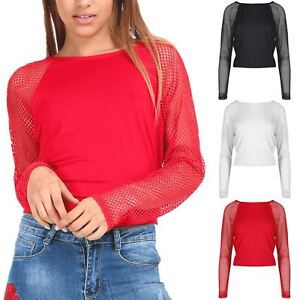 Ladies-Long-Fishnet-Sleeve-Stretchy-See-Through-Round-Neck-Womens-Cropped-Top