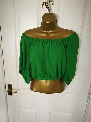 New Cameo Rose Womens Ladies Crop Blouse Tshirts Top Size 10 Green Shirt Ff Modernes Design