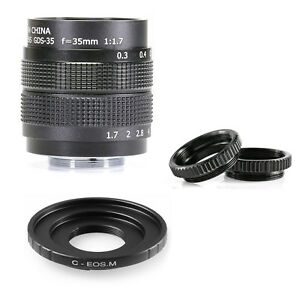 35mm-F-1-7-C-mount-CCTV-2-3-034-lens-body-silver-12-blades-for-Canon-EOS-M-EF-M-EFM