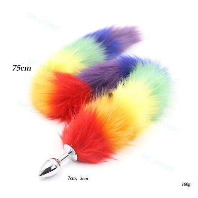 Silicone Rainbow Faux Fox Tail Plug Furry Roleplay Animal Cosplay Cat Fox