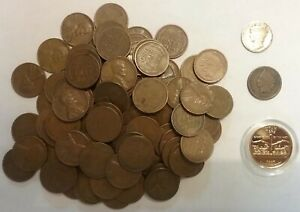 Lincoln Wheat penny/'s 100 unsearched circulated penny/'s