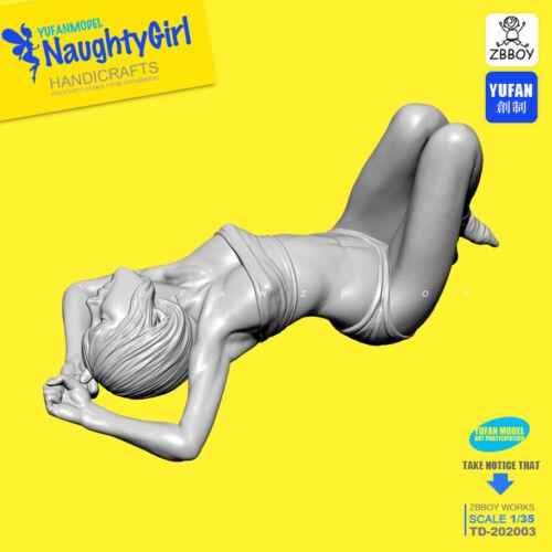 Unpainted Lying Naughty Girl Resin Model Kits Unpainted Unassembled Garage Kit 5