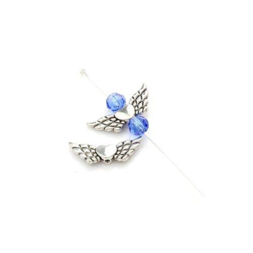 50 Perles Cœur Aile d/'Ange Argent Antique Plaqué 22mm