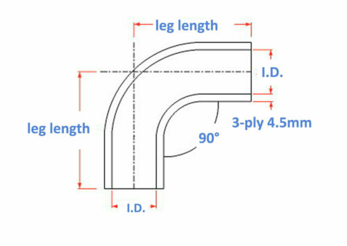 """Silicone Coupler Reducer Hose 63mm-83mm Details about  /Black For 90 Degree ID 2.5/"""" to 3.26/"""""""