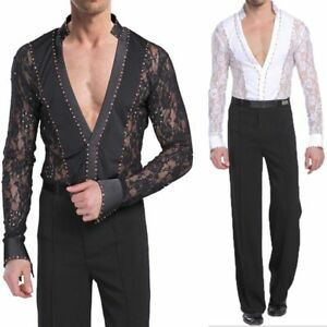 002a91501 Men's Dancewear Set Latin Ballroom Dance Costume Rhythm Salsa Hollow ...
