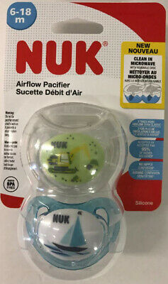 Nuk Pacifier 2 Pack 6-18 Months Orthodontic Pacifiers Train Design 3x Air Flow