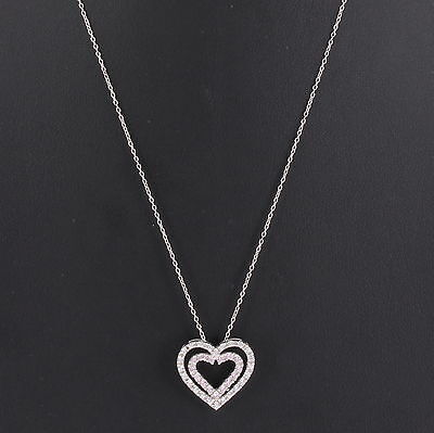 925 Sterling Silver Clear Pink CZ Love Heart Pendant Necklace