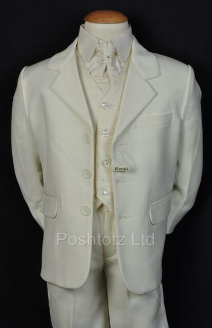 BOYS Suits 5PC CREAM SUITS FORMAL / WEDDING / PAGE BOY