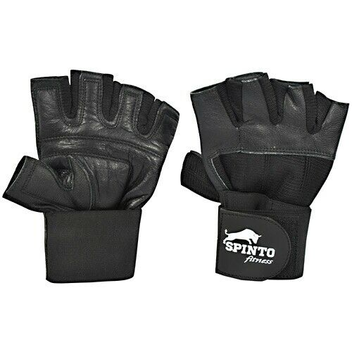 SF56 Weight Lifting Gloves With Long Straps Black Spinto