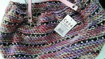 Beliebte Marke Handtasche Grobstrickglitzer Bunte Rosa Bunt Casa Di Stella Vintage- Styl Neu
