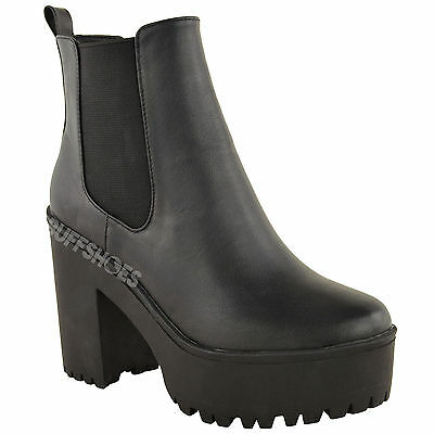 Buff Shoes Ladies Chunky Cleated Sole High Heel Platform Ankle Boots Size New
