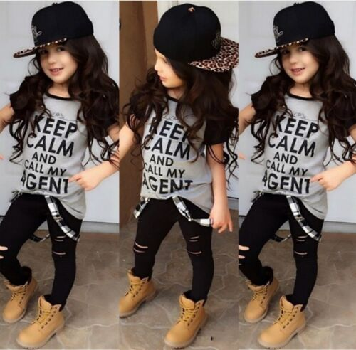 Casual Toddler Kids Girl Tops T-shirt Ripped Pants Leggings Outfits Set Clothes