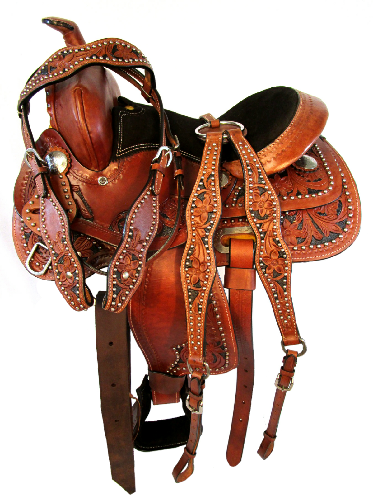 12 13 Silber STUDDED TRAIL SHOW FLORAL TOOLED MINI YOUTH KIDS WESTERN SADDLE