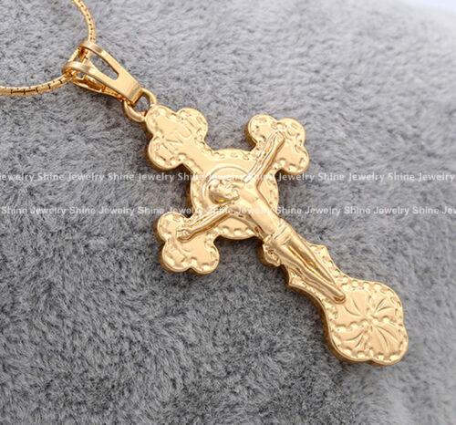 18K GOLD GF CROSS CRUCIFIX JESUS LADIES MENS SOLID CHAIN NECKLACE PENDANT GIFT