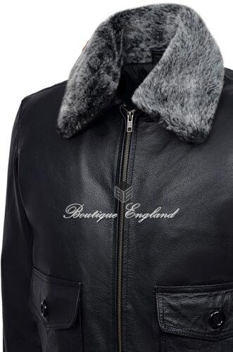 Fur Collar Mens Jacket Jet Fighter Bomber Air Force Pilot Leather TOP GUN BLACK