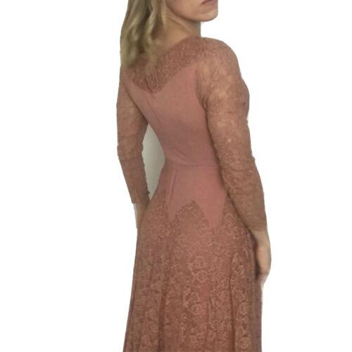 Vtg 40s Delicate Lace Dress Rose Blush Pink Art De