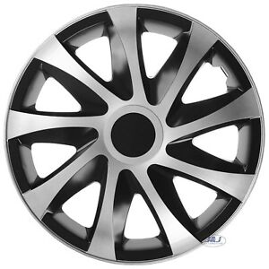 "4 pcs SET 15"" WHEEL TRIMS COVERS SILVER - BLACK  HUB CAPS 15 INCH DRACO CS"