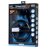 2 Black 15-in-1 Kit For Nintendo Wii Gun Golf Pool Wheel Baseball Bat Tennis