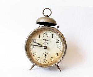 Antique KIENZLE 1930s Alarm clock Germany Vintage old desk table retro chrome