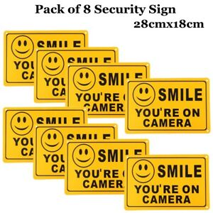 (8) SMILE YOU'RE ON CAMERA Yellow Business Security Sign CCTV Video Surveillance