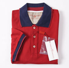 NWT $295 LUCIANO BARBERA Red-Navy Pique Cotton Polo Shirt Slim-Fit L (Eu 52)