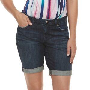 dd9e02fa8fa90 JENNIFER LOPEZ Women s Dark Wash Cuffed Bermuda Jean Shorts Size 6 ...