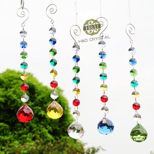 Set 5 Rainbow Chakra Hanging Suncatcher Crystal  Ball Prisms Window Home Decor