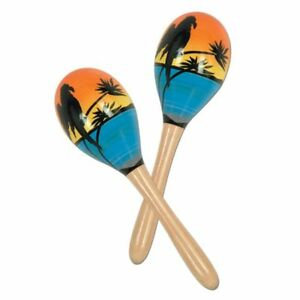 tropical fun maracas hand decorated wood 2 pack 34689609506 ebay