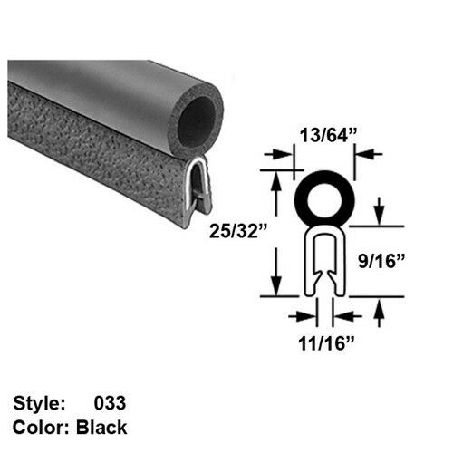 Water Weather Resistant Hollow Foam Rubber Push-On Seal w  Bulb on Top Style 33