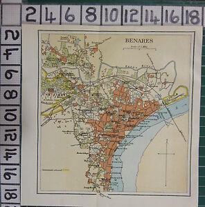 1926 INDIA INDIAN TOURIST MAP BENARES PLAN HOSPITAL CANTONMENT