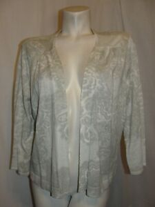 CHICO'S Sweater Size XL 3 Gray White 3/4 Sleeve Open Front Lightweight Cardigan