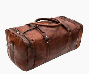 Image is loading Vintage-Genuine-Leather-Duffel-Bag-For-Overnight-Travel- 3b16ddee2b