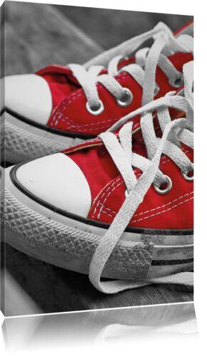 Coole rote Chucks Schuhe schwarz//weiß Leinwandbild Wanddeko Kunstdruck
